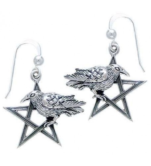 Pentacle Raven Earrings at Jewelry Gem Shop,  Sterling Silver Jewerly | Gemstone Jewelry | Unique Jewelry