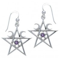 Pentagram Pentacle Earrings with Gemstone Jewelry Gem Shop  Sterling Silver Jewerly | Gemstone Jewelry | Unique Jewelry