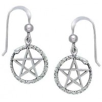 Ouroborus Snake of Rebirth Pentacle Earrings Jewelry Gem Shop  Sterling Silver Jewerly | Gemstone Jewelry | Unique Jewelry