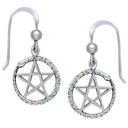 Ouroborus Snake of Rebirth Pentacle Earrings at Jewelry Gem Shop,  Sterling Silver Jewerly | Gemstone Jewelry | Unique Jewelry