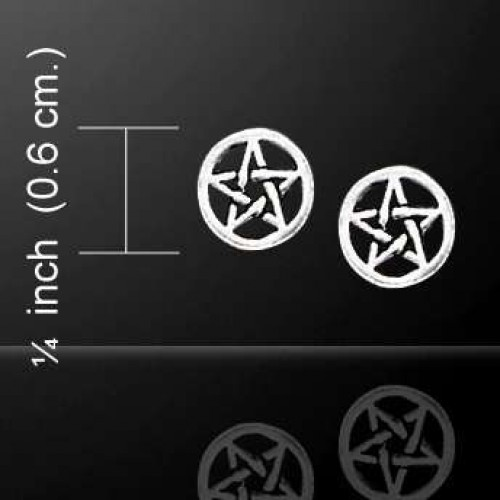 Pentagram Pentacle Tiny Stud Earrings in Sterling Silver at Jewelry Gem Shop,  Sterling Silver Jewerly   Gemstone Jewelry   Unique Jewelry