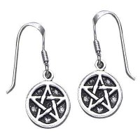 Pentagram Pentacle Dangle Earrings in Sterling Silver