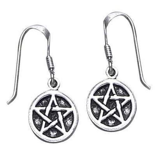 Pentagram Pentacle Dangle Earrings in Sterling Silver at Jewelry Gem Shop,  Sterling Silver Jewerly | Gemstone Jewelry | Unique Jewelry