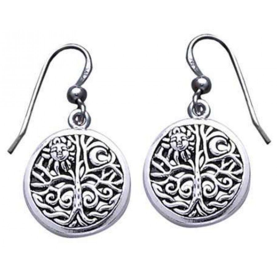 Tree Of Life Sterling Silver Earrings Pagan Jewelry Wicca Celtic