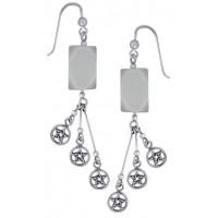 Pentacle Gemstone Sterling Silver Earrings Jewelry Gem Shop  Sterling Silver Jewerly   Gemstone Jewelry   Unique Jewelry