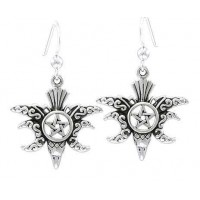 Raven Pentacle Moon Sterling Silver Earrings