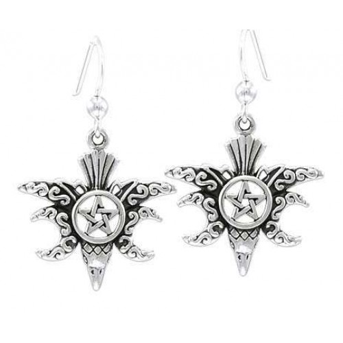 Raven Pentacle Moon Sterling Silver Earrings at Jewelry Gem Shop,  Sterling Silver Jewerly | Gemstone Jewelry | Unique Jewelry