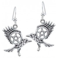 Raven Pentacle Sterling Silver Earrings