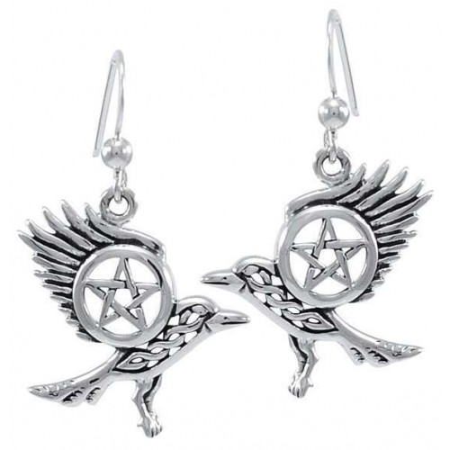 Raven Pentacle Sterling Silver Earrings at Jewelry Gem Shop,  Sterling Silver Jewerly | Gemstone Jewelry | Unique Jewelry