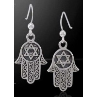 Hamsa Star of David Sterling Silver Earrings
