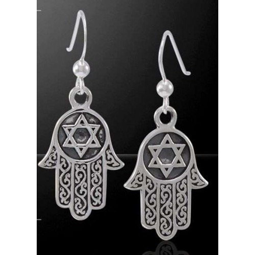 Hamsa Star of David Sterling Silver Earrings at Jewelry Gem Shop,  Sterling Silver Jewerly | Gemstone Jewelry | Unique Jewelry