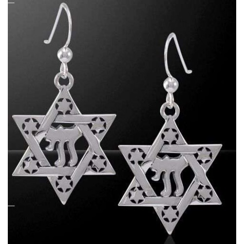 Chai Star of David Sterling Silver Earrings at Jewelry Gem Shop,  Sterling Silver Jewerly | Gemstone Jewelry | Unique Jewelry