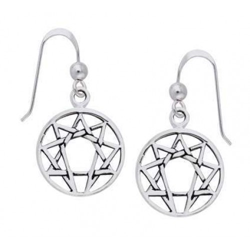 Enneagram Sterling Silver Earrings at Jewelry Gem Shop,  Sterling Silver Jewerly | Gemstone Jewelry | Unique Jewelry