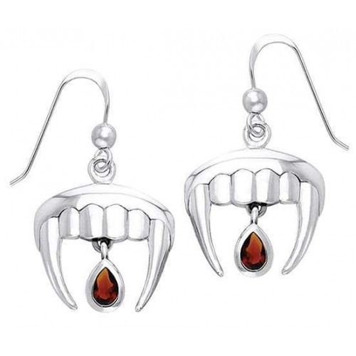 Vampire Teeth Sterling Silver Blood Drop Earrings at Jewelry Gem Shop,  Sterling Silver Jewerly | Gemstone Jewelry | Unique Jewelry