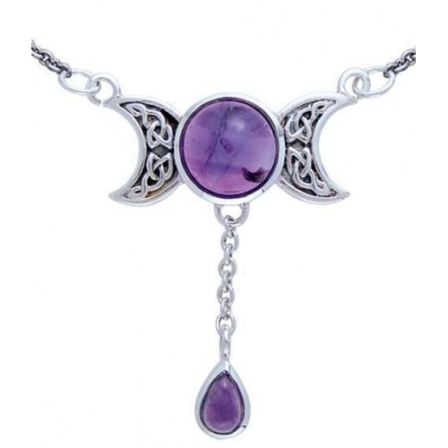 Celtic Triple Moon Necklace with Amethyst for Spirituality at Jewelry Gem Shop,  Sterling Silver Jewerly | Gemstone Jewelry | Unique Jewelry