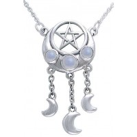 Crescent Pentacle Necklace with Moontones Jewelry Gem Shop  Sterling Silver Jewerly | Gemstone Jewelry | Unique Jewelry