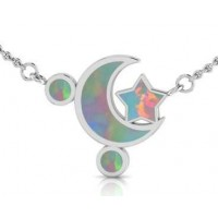 Moon and Star Necklace with Opal Inlay