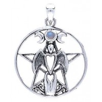 Moon Goddess Pentacle Pendant with Gemstone