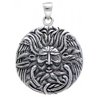 Belenos Sun God Disk Pendant in Sterling Silver