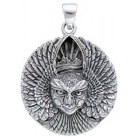 Ariel Bird Goddess Disk Pendant in Sterling Silver