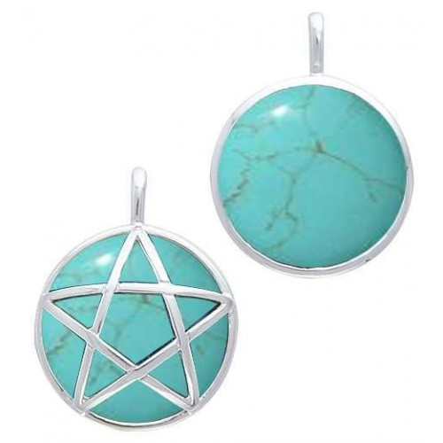 Hidden Pentacle Turquoise and Sterling Silver Pendant at Jewelry Gem Shop,  Sterling Silver Jewerly | Gemstone Jewelry | Unique Jewelry