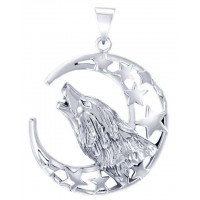 Howling Wolf Crescent Moon Pendant Jewelry Gem Shop  Sterling Silver Jewerly | Gemstone Jewelry | Unique Jewelry