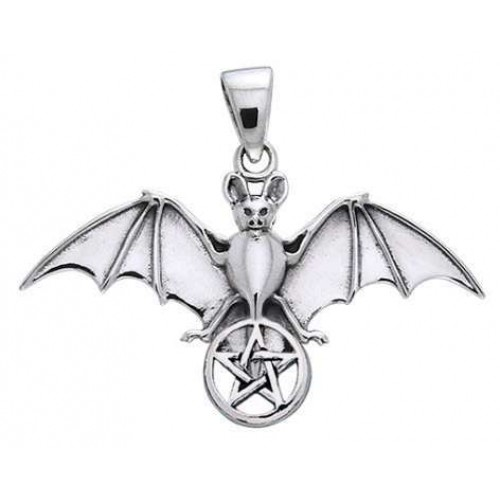Bat Pentacle Sterling Silver Pendant at Jewelry Gem Shop,  Sterling Silver Jewerly | Gemstone Jewelry | Unique Jewelry