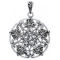 Intricate Knotwork Pentacle Pendant in Sterling Silver