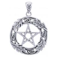 Celtic Oak Leaf Pentacle Sterling Silver Pendant