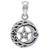 Moon Pentacle with Amethyst Small Silver Pendant Jewelry Gem Shop  Sterling Silver Jewerly | Gemstone Jewelry | Unique Jewelry