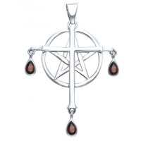 Cross over Pentacle Sterling Silver Pendant Jewelry Gem Shop  Sterling Silver Jewerly | Gemstone Jewelry | Unique Jewelry
