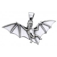 Bat in Flight Sterling Silver Pendant
