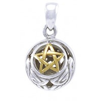 Hollow Ball Celtic Knot Pentacle Silver and Gold Pendant