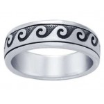 Wave Curl Sterling Silver Fidget  Spinner Ring at Jewelry Gem Shop,  Sterling Silver Jewerly | Gemstone Jewelry | Unique Jewelry