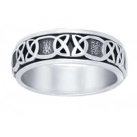Celtic Knot Band Sterling Silver Fidget Spinner Ring