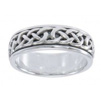 Celtic Knotwork Sterling Silver Fidget Spinner Ring