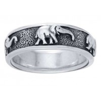 Elephant Sterling Silver Fidget Spinner Ring