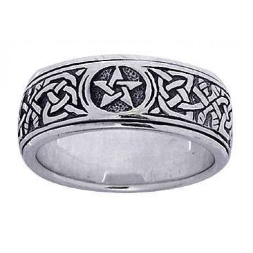 Pentacle Celtic Knot Narrow Fidget Spinner Ring at Jewelry Gem Shop,  Sterling Silver Jewerly | Gemstone Jewelry | Unique Jewelry