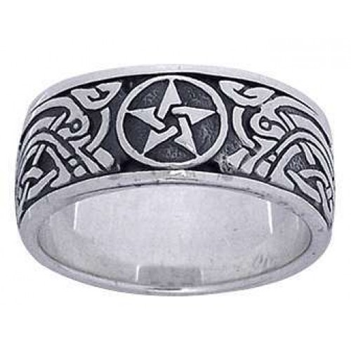 Pentacle Celtic Knot Sterling Silver Fidget Spinner Ring at Jewelry Gem Shop,  Sterling Silver Jewerly   Gemstone Jewelry   Unique Jewelry