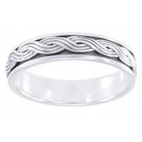 Twisted Rope Sterling Silver Fidget Spinner Ring