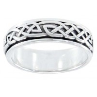Celtic Knot Woven Sterling Silver Fidget Spinner Ring