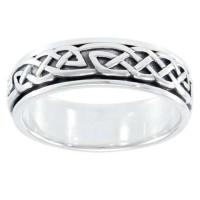 Celtic Knot Woven Sterling Silver Fidget Spinner Ring