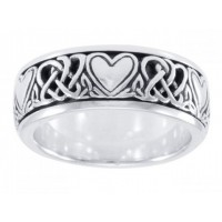 Celtic Hearts Sterling Silver Fidget Spinner Ring Jewelry Gem Shop  Sterling Silver Jewerly | Gemstone Jewelry | Unique Jewelry