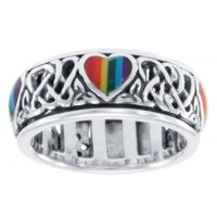 Rainbow Hearts Sterling Silver Fidget Spinner Ring