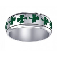 Celtic Green Shamrock Sterling Silver Fidget Spinner Ring