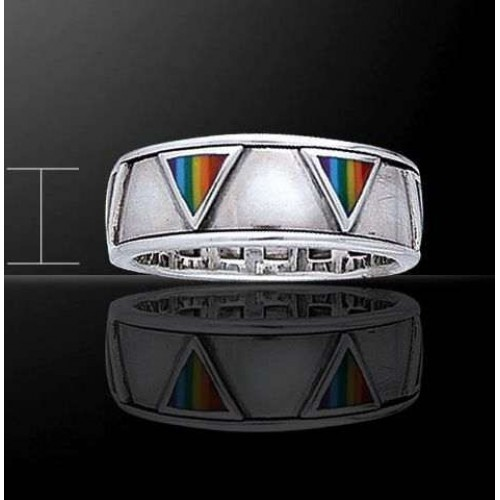 Rainbow Triangles Sterling Silver Fidget Spinner Ring at Jewelry Gem Shop,  Sterling Silver Jewerly   Gemstone Jewelry   Unique Jewelry