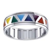 Rainbow Triangles Fidget Spinner Ring