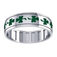 Celtic Shamrock Sterling Silver Fidget Spinner Ring