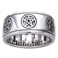 Pentacle Sterling Silver Fidget Spinner Ring