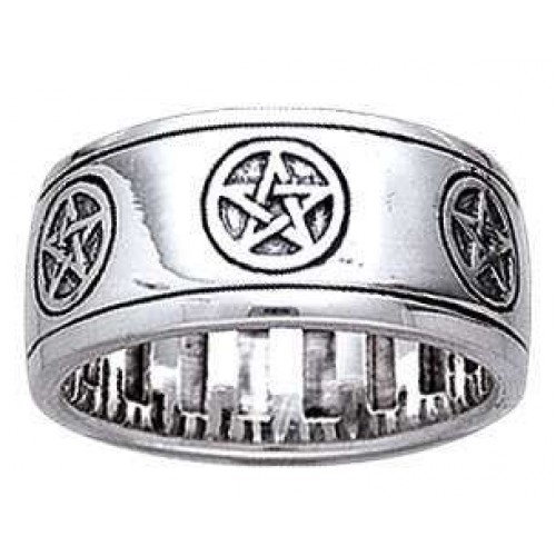 Pentacle Sterling Silver Fidget Spinner Ring at Jewelry Gem Shop,  Sterling Silver Jewerly | Gemstone Jewelry | Unique Jewelry
